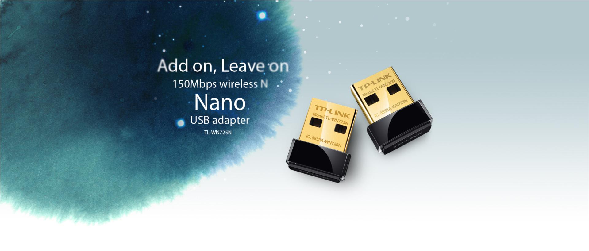 TP-Link 150Mbps Advanced Security Wi-Fi Wireless N Nano USB AdapterTL-WN725N